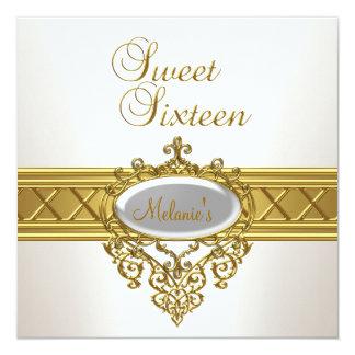 16. Geburtstag-Geburtstags-Party-elegantes weißes Karte