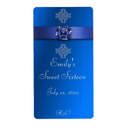 16. Geburtstag, königliches Blau, Wasser-Flasche Versandetiketten