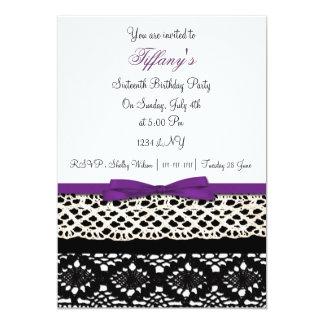16. Geburtstag-Party Einladung Damast der Spitzes