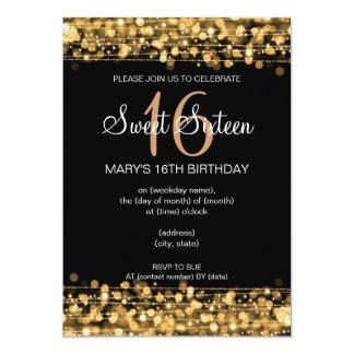 16. Geburtstag-Party-Glitzern-Gold Karte