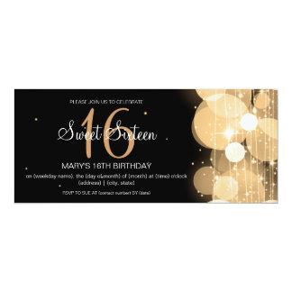 16. Geburtstag-Party-Glühen-u. Schein-Gold 10,2 X 23,5 Cm Einladungskarte