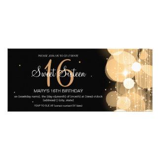 16 Geburtstag-Party-Glühen-u Schein-Gold Personalisierte Ankündigung
