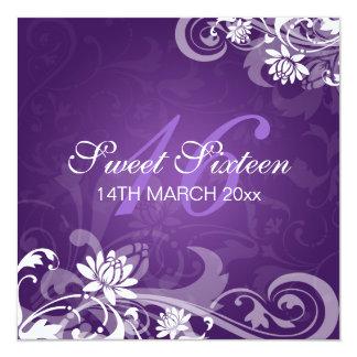 16. Geburtstag-Party-Wirble Blumen lila Quadratische 13,3 Cm Einladungskarte