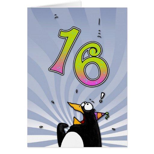 16. Geburtstag - Pinguin-Überraschungs-Karte