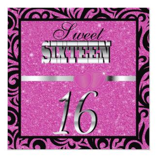 rosa 16 geburtstag geburtstags party einladungen | zazzle.de, Einladungsentwurf
