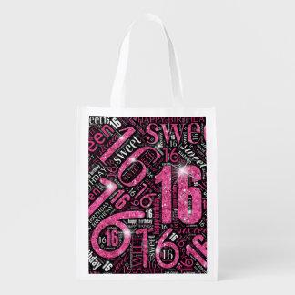 16. Geburtstag-Schein-Wort-Wolken-Rosa ID265 Wiederverwendbare Einkaufstasche