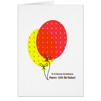 16. Geburtstaggrandniece-Karten, bunte Ballone Karte