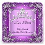16. Geburtstags-Party 16. Geburtstag 16 lila Personalisierte Ankündigungskarte