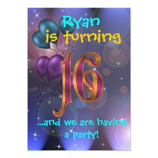 16. Geburtstags-Party Einladung