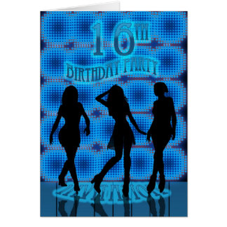 16. Geburtstags-Party Einladung, blaues Neon mit Grußkarte