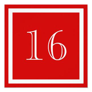 16. Geburtstags-Party Einladung - Rot