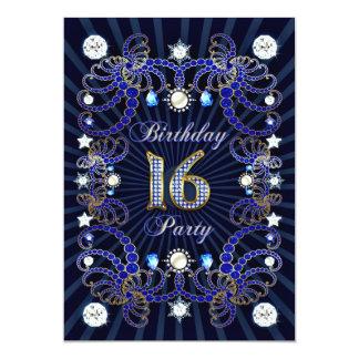16. Geburtstags-Party laden mit Massen der Juwelen 12,7 X 17,8 Cm Einladungskarte
