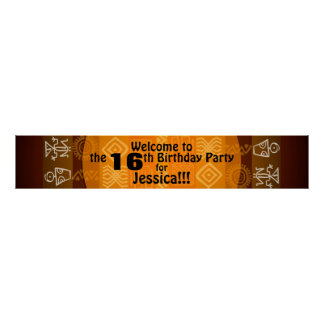 16. Geburtstags-Party-personalisierte Fahne 60x11 Poster