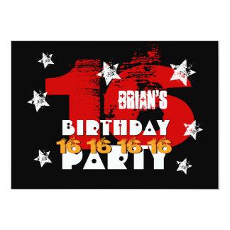16. Geburtstags-schwarze rote weiße Sterne retten 12,7 X 17,8 Cm Einladungskarte