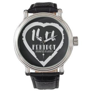 16. Hochzeitstag traditioneller Peridot Uhr