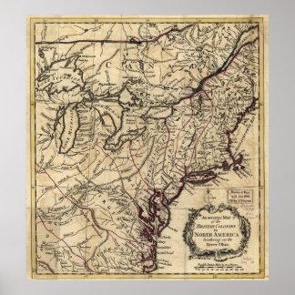 1754 britische Kolonien Nordamerika Poster