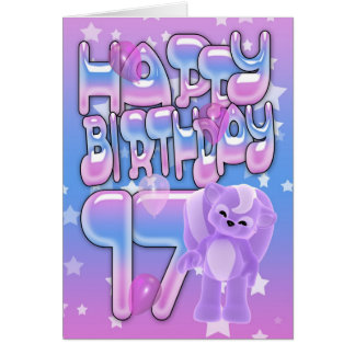 17. Geburtstags-Karte niedlich mit kleinem Karte