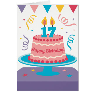 17. Geburtstags-Kuchen Karte