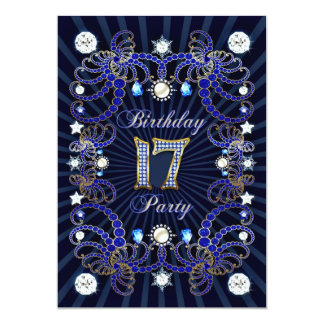 17. Geburtstags-Party laden mit Massen der Juwelen 12,7 X 17,8 Cm Einladungskarte