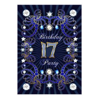 17 Geburtstags-Party laden mit Massen der Juwelen Individuelle Ankündigskarten
