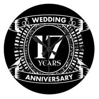 17. Hochzeitstag Schwarzweiss Große Wanduhr