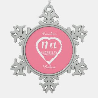 17. Hochzeitstag traditioneller Carnelian Schneeflocken Zinn-Ornament