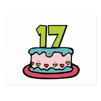 17 Jährig-Geburtstags-Kuchen Postkarte