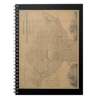 1820 Vintage Washington DC-Karte Spiral Notizblock