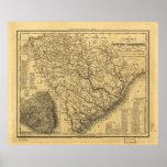 1833 Schienen-u. Schiffs-Weg-Karte von South Carol Plakat