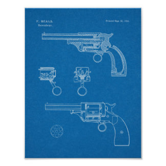 1854 Gewehr-Revolver-Patent-Kunst, die Druck Poster