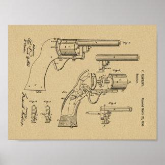 1855 Gewehr-Revolver-Patent-Kunst, die Druck Poster