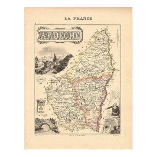 1858 Karte von Ardeche Abteilung, Frankreich