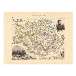 1858 Karte von Gers-Abteilung, Frankreich