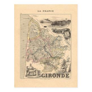 1858 Karte von Gironde-Abteilung, Frankreich