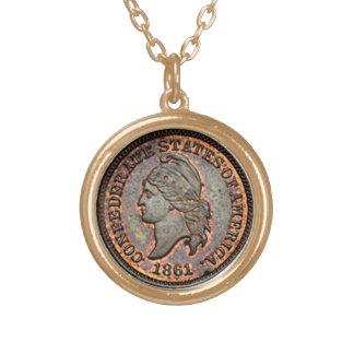 1861 verbündeter Penny ziviler Krieg USA Halskette Mit Rundem Anhänger
