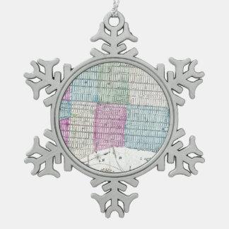 1870 Karten-New- York CityCentral Park Schneeflocken Zinn-Ornament