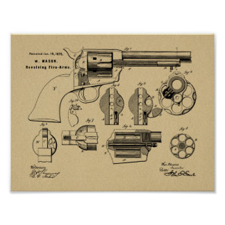 1875 Gewehr-Revolver-Patent-Kunst, die Druck Poster
