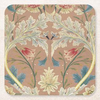 1875 Vintage Blumenstickerei Williams Morris Rechteckiger Pappuntersetzer