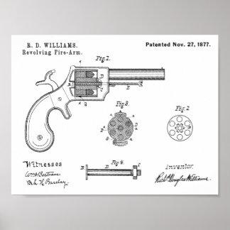 1877 Gewehr-Revolver-Patent-Kunst, die Druck Poster