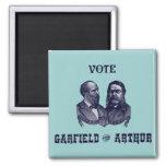 1880 Abstimmung Garfield und Arthur, blau Quadratischer Magnet