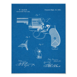 1881 Gewehr-Revolver-Patent-Kunst, die Druck Poster