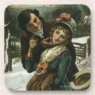 1887: Ein Mann versucht, eine schüchterne Frau zu Getränk Untersetzer