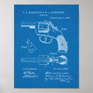 1887 Gewehr-Revolver-Patent-Kunst, die Druck Poster