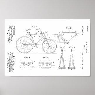 1890 Vintager Fahrrad-Patent-Druck fertigen Poster