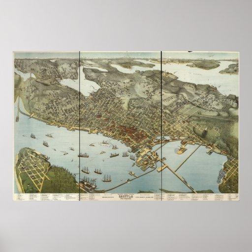 1891 Seattle, WA Vogel-Augen-Ansicht-panoramische  Plakatdruck