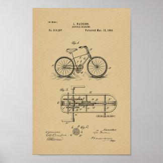 1894 Vintager Fahrrad-Getriebe-Patent-Kunst-Druck Poster