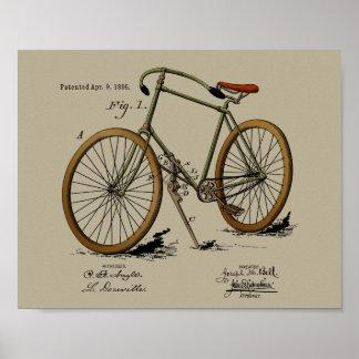 1895 Vintager Fahrrad-Patent-Farbkunst-Druck Poster