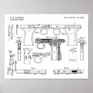 1896 Gewehr-Zeitschriften-Patent-Kunst, die Druck Poster