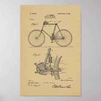 1898 Vintager Fahrrad-Bremse-Patent-Kunst-Druck Poster