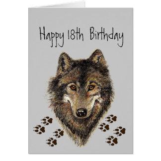 18., achtzehn, Geburtstags-Wolf, Wölfe, Tier Karte